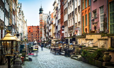 Beautiful polish street with interesting architecture. Poland is a great destination for tourists.