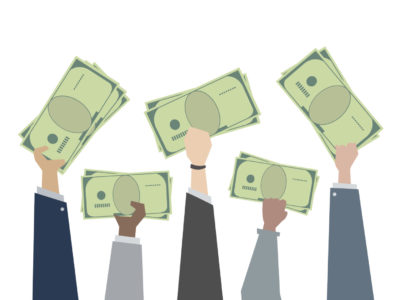 Illustration of hands holding paper money