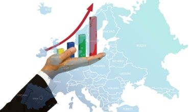 Maps showing economic growth in Poland and Europe, foreign investors investing in Poland.